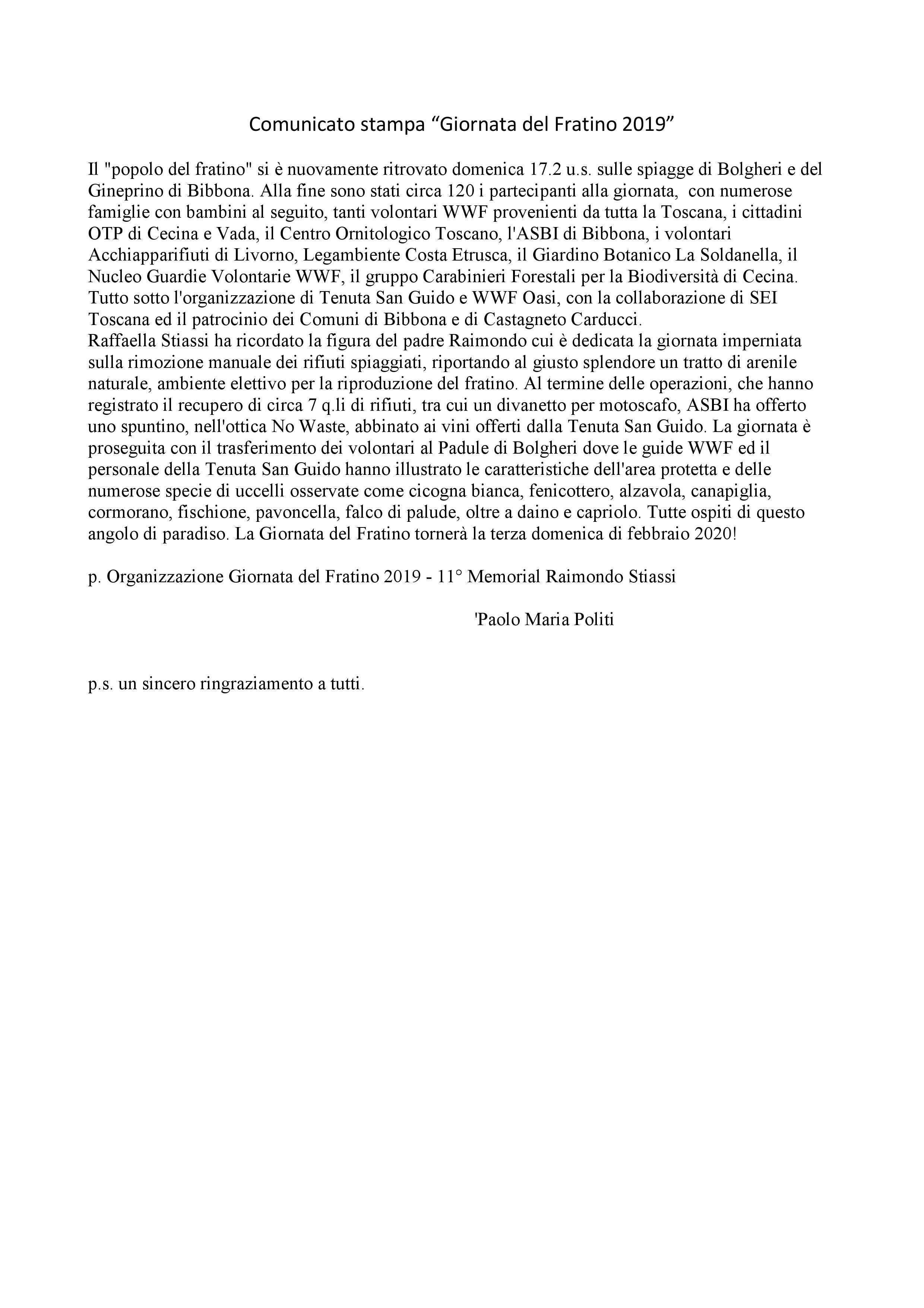 Comunicato stampa Paolo Politi Fratino 2019